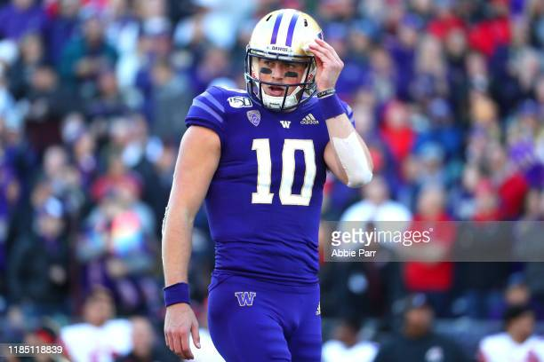 Jacob Eason of the Washington Huskies reacts against the Utah Utes in the first quarter during their game at Husky Stadium on November 02 2019 in...