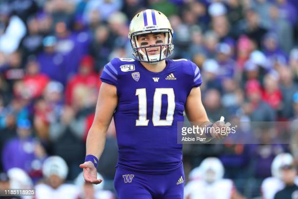 Jacob Eason of the Washington Huskies reacts against the Utah Utes in the fourth quarter during their game at Husky Stadium on November 02 2019 in...
