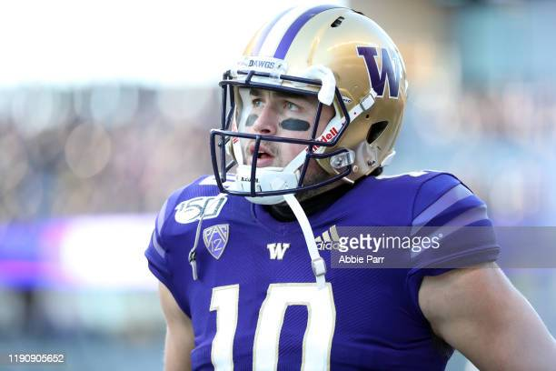 Jacob Eason of the Washington Huskies reacts in the first quarter against the Washington State Cougars during their game at Husky Stadium on November...