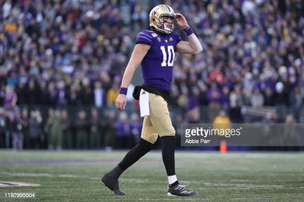 Jacob Eason of the Washington Huskies reacts in the fourth quarter against the Washington State Cougars during their game at Husky Stadium on...