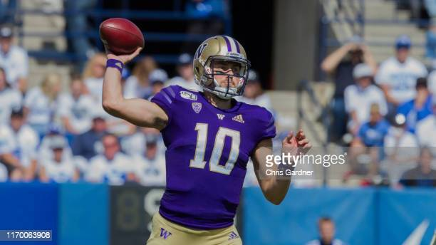 Jacob Eason of the Washington Huskies throws a pass against the BYU Cougars at LaVell Edwards Stadium on September 21 2019 in Provo Utah
