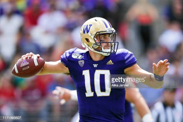 Jacob Eason of the Washington Huskies throws a pass during the first half of the game against the Eastern Washington Eagles at Husky Stadium on...