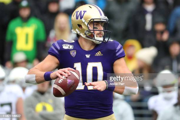 Jacob Eason of the Washington Huskies throws the ball against the Oregon Ducks in the first quarter during their game at Husky Stadium on October 19...