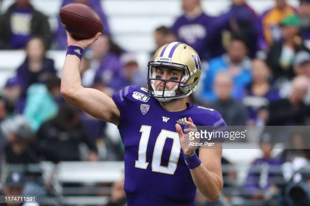 Jacob Eason of the Washington Huskies throws the ball in the first quarter against the Hawaii Rainbow Warriors during their game at Husky Stadium on...