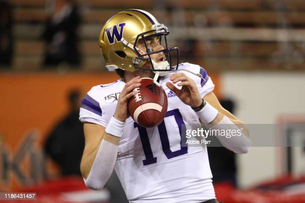 Jacob Eason of the Washington Huskies warms up prior to taking on the Oregon State Beavers during their game at Reser Stadium on November 08 2019 in...
