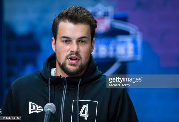 Jacob Eason #QB04 of the Washington Huskies speaks to the media at the Indiana Convention Center on February 25 2020 in Indianapolis Indiana Jacob...