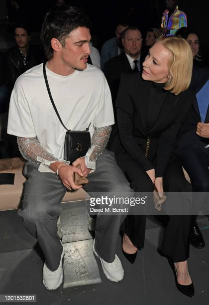 Jacob Elordi and Cate Blanchett attend the Burberry Autumn/Winter 2020 show during London Fashion Week at Kensington Olympia on February 17 2020 in...