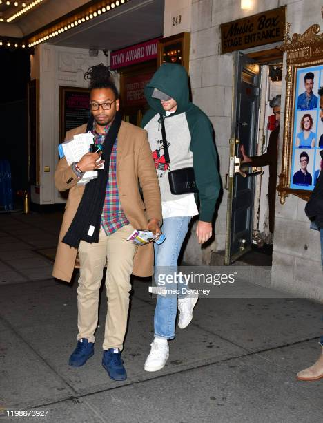 Jacob Elordi leaves Dear Evan Hansen play at Music Box Theatre on February 4 2020 in New York City