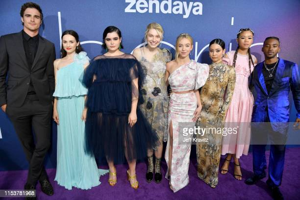 Jacob Elordi Maude Apatow Barbie Ferreira Hunter Schafer Sydney Sweeney Alexa Demie Storm Reid and Algee Smith attend HBO's Euphoria premiere at the...