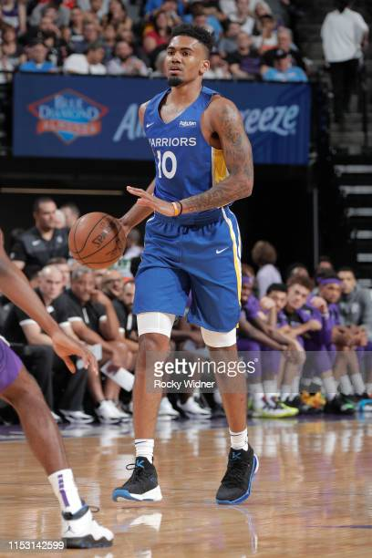 Jacob Evans of Golden State Warriors brings the ball up the court against the Sacramento Kings on July 1, 2019 at the Golden 1 Center, in Phoenix,...
