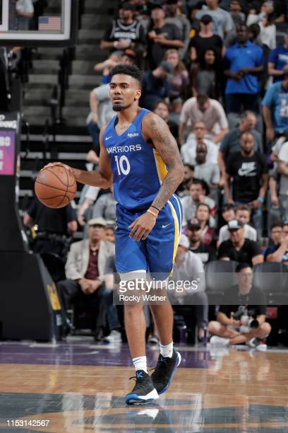 Jacob Evans of Golden State Warriors handles the ball against the Sacramento Kings on July 1, 2019 at the Golden 1 Center, in Phoenix, Arizona. NOTE...