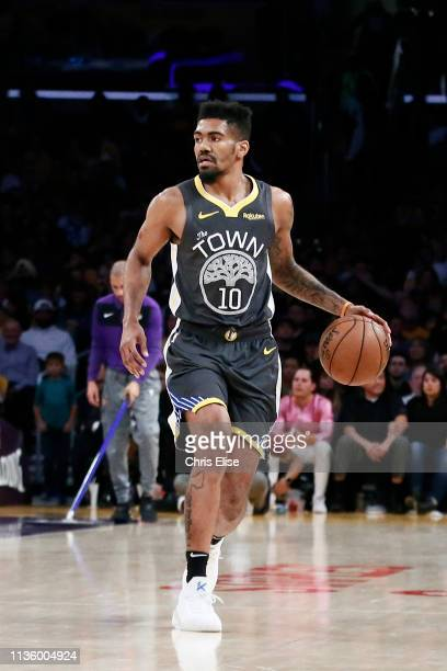 Jacob Evans of the Golden State Warriors brings the ball up court during a game on April 4, 2019 at STAPLES Center in Los Angeles, California. NOTE...
