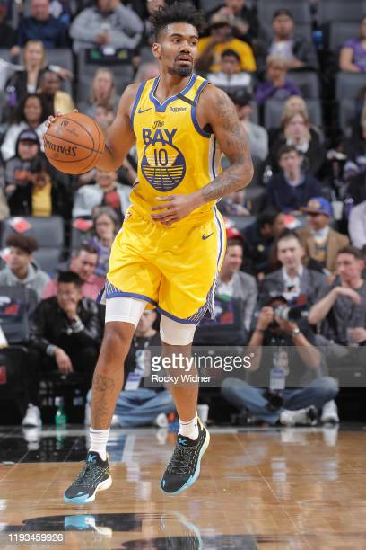 Jacob Evans of the Golden State Warriors brings the ball up the court against the Sacramento Kings on January 6, 2020 at Golden 1 Center in...