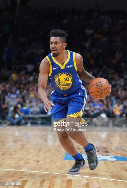Jacob Evans of the Golden State Warriors dribbles the ball against the Los Angeles Lakers during the second half of their NBA basketball game at SAP...