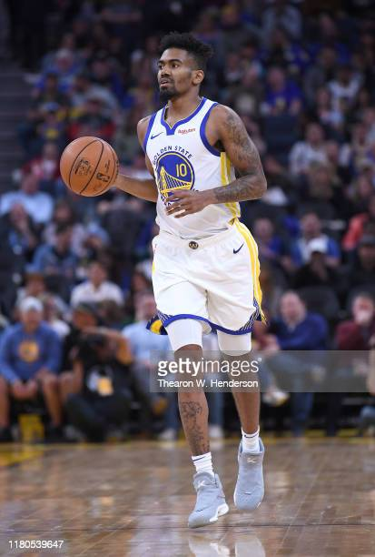 Jacob Evans of the Golden State Warriors dribbles the ball up court against the Minnesota Timberwolves during an NBA basketball game at Chase Center...