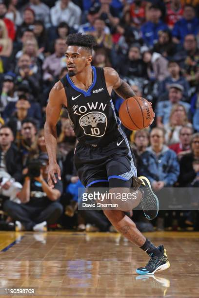 Jacob Evans of the Golden State Warriors dribbles the ball up court against the Houston Rockets on December 25, 2019 at Chase Center in San...