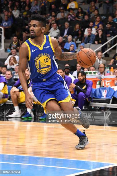 Jacob Evans of the Golden State Warriors drives to the basket against the Los Angeles Lakers during a pre-season game on October 12, 2018 at the SAP...