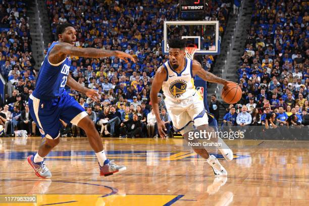 Jacob Evans of the Golden State Warriors drives to the basket against the LA Clippers on October 24, 2019 at Chase Center in San Francisco,...