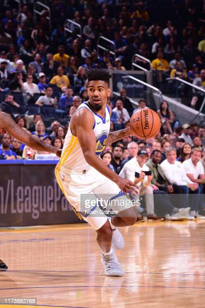 Jacob Evans of the Golden State Warriors handles the ball against the Los Angeles Lakers during a pre-season game on October 5, 2019 at Chase Center...