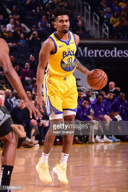 Jacob Evans of the Golden State Warriors handles the ball against the Sacramento Kings on December 15, 2019 at Chase Center in San Francisco,...