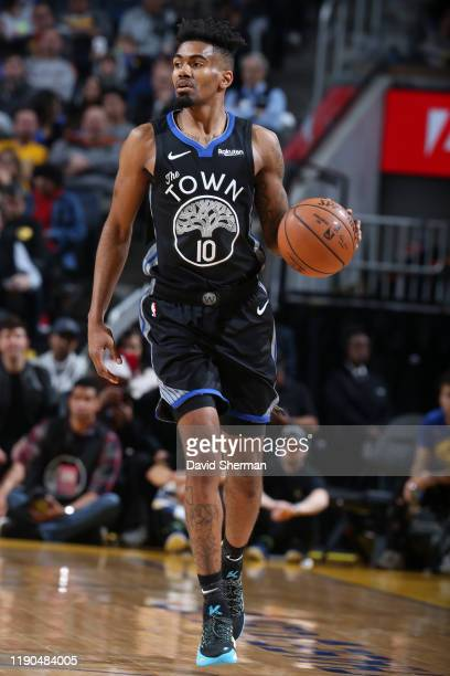 Jacob Evans of the Golden State Warriors handles the ball against the Houston Rockets on December 25, 2019 at Chase Center in San Francisco,...