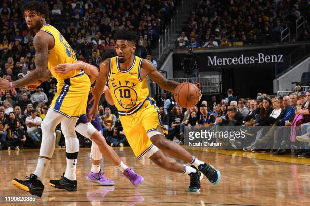 Jacob Evans of the Golden State Warriors handles the ball against the Phoenix Suns on December 27, 2019 at Chase Center in San Francisco, California....
