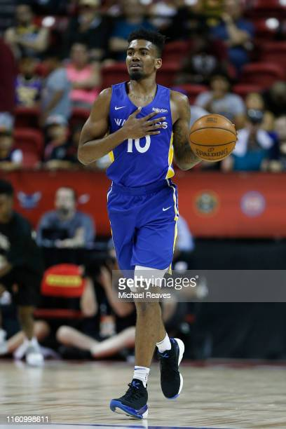 Jacob Evans of the Golden State Warriors in action against the Los Angeles Lakers during the 2019 NBA Summer League at the Thomas & Mack Center on...