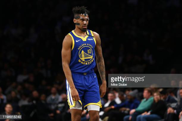 Jacob Evans of the Golden State Warriors in action against the Brooklyn Nets at Barclays Center on February 05, 2020 in New York City. NOTE TO USER:...