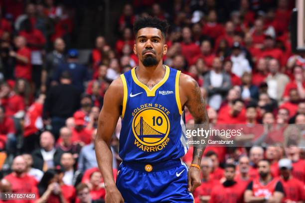 Jacob Evans of the Golden State Warriors looks on during Game Two of the NBA Finals against the Toronto Raptors on June 2, 2019 at Scotiabank Arena...