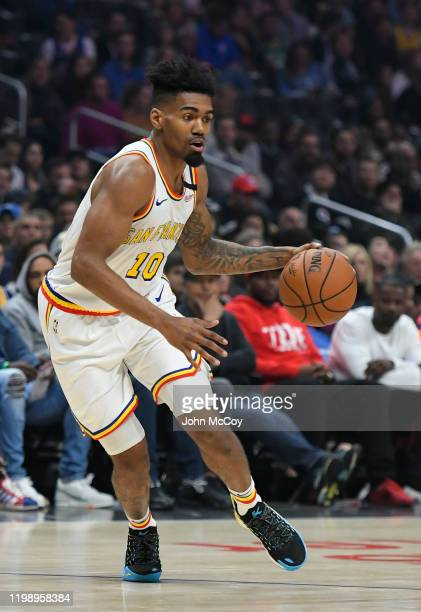 Jacob Evans of the Golden State Warriors plays the LA Clippers at Staples Center on January 10, 2020 in Los Angeles, California. NOTE TO USER: User...