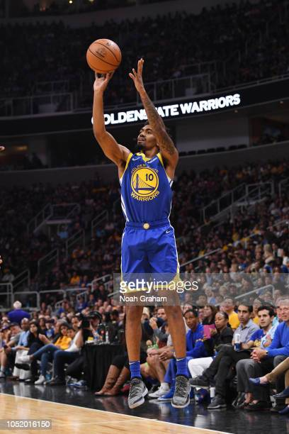 Jacob Evans of the Golden State Warriors shoots the ball against the Los Angeles Lakers on October 12, 2018 at SAP Center in San Jose, California....
