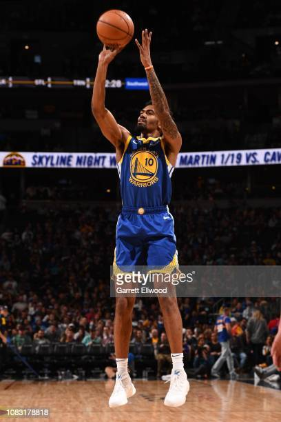 Jacob Evans of the Golden State Warriors shoots the ball against the Denver Nuggets on January 15, 2019 at the Pepsi Center in Denver, Colorado. NOTE...