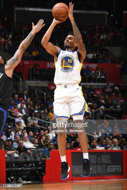Jacob Evans of the Golden State Warriors shoots the ball against the LA Clippers in Game Three of Round One of the 2019 NBA Playoffs on April 18,...