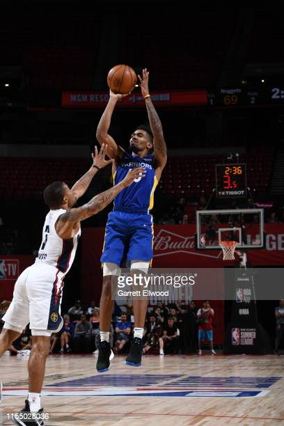 Jacob Evans of the Golden State Warriors shoots the ball against the Denver Nuggets on July 10, 2019 at the Thomas & Mack Center in Las Vegas,...