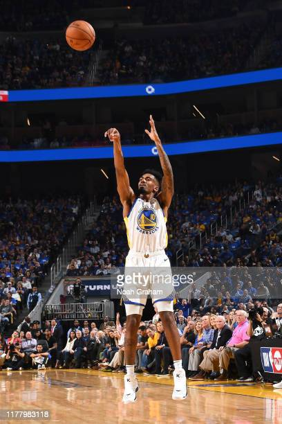 Jacob Evans of the Golden State Warriors shoots the ball against the LA Clippers on October 24, 2019 at Chase Center in San Francisco, California....