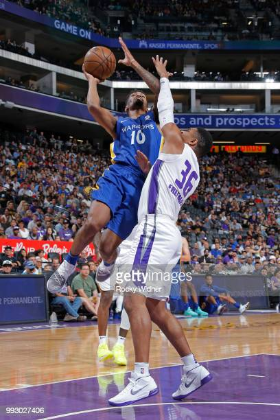 Jacob Evans of the Golden State Warriors shoots the ball against the Sacramento Kings on July 3 2018 at Golden 1 Center in Sacramento California NOTE...
