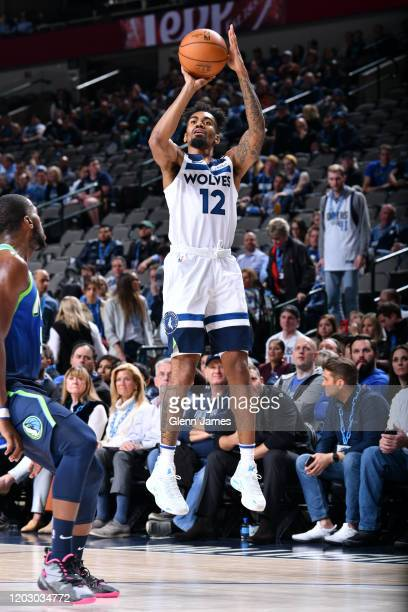 Jacob Evans of the Minnesota Timberwolves shoots the ball against the Dallas Mavericks on February 24, 2020 at the American Airlines Center in...
