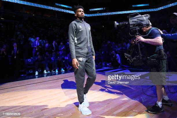 Jacob Evans of the Minnesota Timberwolves walks onto the court prior to a game against the LA Clippers on February 8, 2020 at Target Center in...