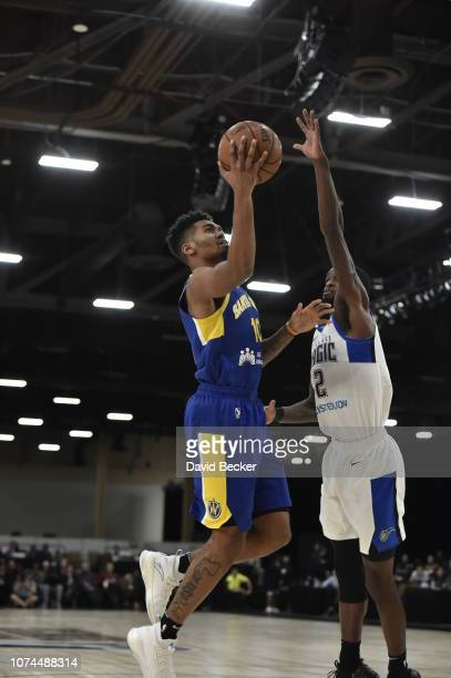 Jacob Evans of the Santa Cruz Warriors drives to the basket against the Lakeland Magic during the NBA G League Winter Showcase on December 20, 2018...