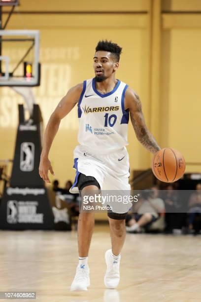 Jacob Evans of the Santa Cruz Warriors handles the ball against the Canton Charge during the NBA G League Winter Showcase at Mandalay Bay Events...