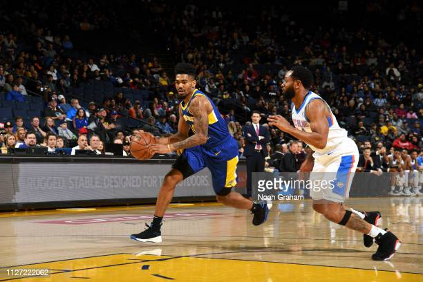 Jacob Evans of the Santa Cruz Warriors handles the ball against the Oklahoma City Blue on February 24, 2019 at the Oracle Arena in Oakland,...