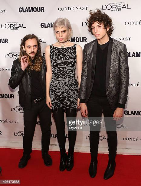 Jacob Faber Julia Cumming and Nick Kivlen of Sunflower Bean attend 2015 Glamour Women Of The Year Awards at Carnegie Hall on November 9 2015 in New...