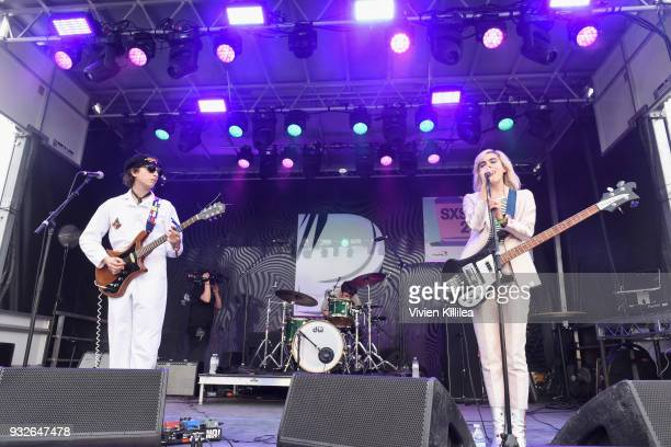 Jacob Faber Nick Kivlen and Julia Cumming of Sunflower Bean perform onstage during Pandora SXSW 2018 on March 15 2018 in Austin Texas
