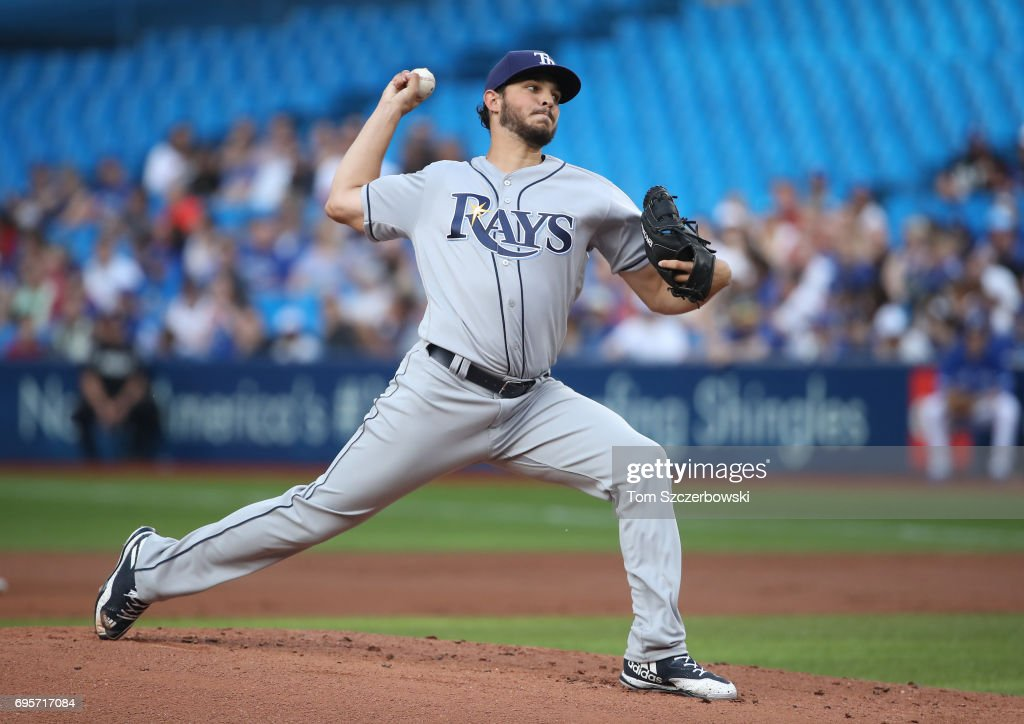 Jacob Faria #34 of the Tampa Bay Rays delivers a pitch in the first inning during MLB game action against the Toronto Blue Jays at Rogers Centre on June 13, 2017 in Toronto, Canada.