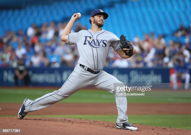 Jacob Faria of the Tampa Bay Rays delivers a pitch in the first inning during MLB game action against the Toronto Blue Jays at Rogers Centre on June...