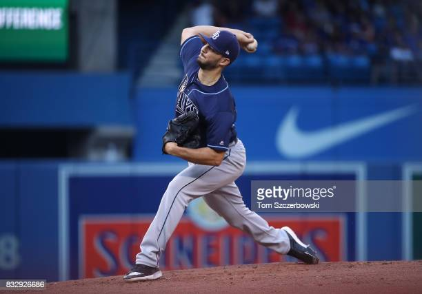 Jacob Faria of the Tampa Bay Rays delivers a pitch in the first inning during MLB game action against the Toronto Blue Jays at Rogers Centre on...