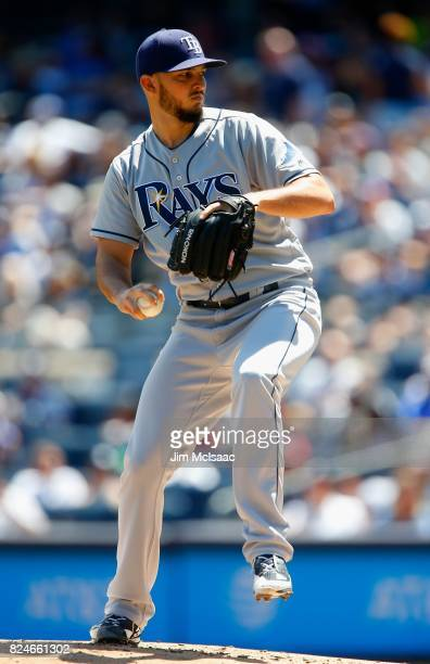 Jacob Faria of the Tampa Bay Rays in action against the New York Yankees at Yankee Stadium on July 30 2017 in the Bronx borough of New York City The...