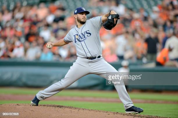 Jacob Faria of the Tampa Bay Rays pitches against the Baltimore Orioles at Oriole Park at Camden Yards on May 11 2018 in Baltimore Maryland
