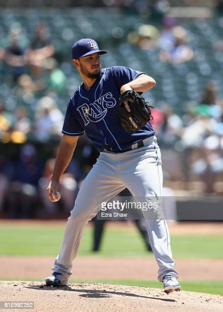 Jacob Faria of the Tampa Bay Rays pitches against the Oakland Athletics in the first inning at Oakland Alameda Coliseum on July 19 2017 in Oakland...