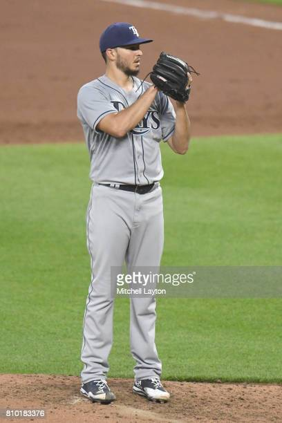 Jacob Faria of the Tampa Bay Rays pitches during a baseball game against the Baltimore Orioles at Oriole Park at Camden Yards on July 4 2017 in...